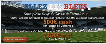 Le site Vectrix promo bleu
